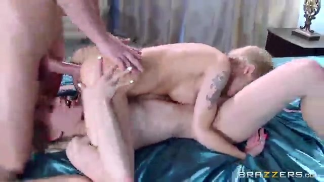 Bisexual blondes enjoy a great big cock