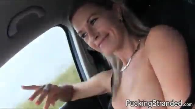 Blond MILF banged in the car