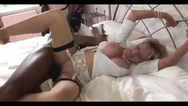 Diving into interracial sex with the older blonde