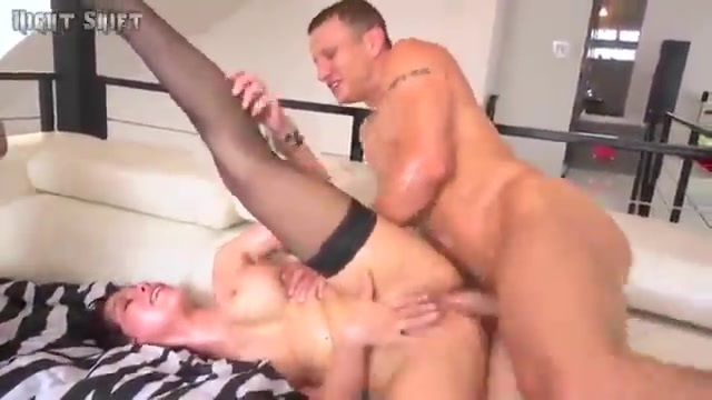 Sliding right in to fuck her well lubricated holes