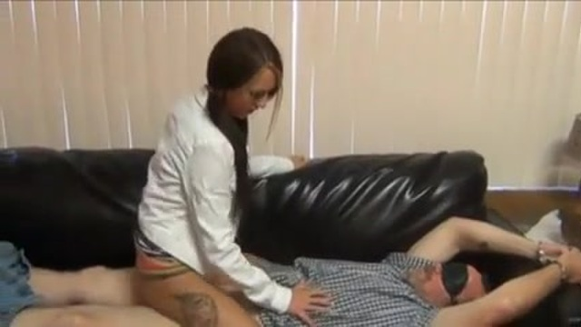 A young woman sucks and rides an older man