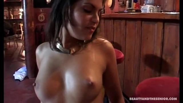 Waitress fucks a customer