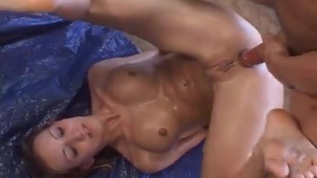 Lubed up fun with her stepdad