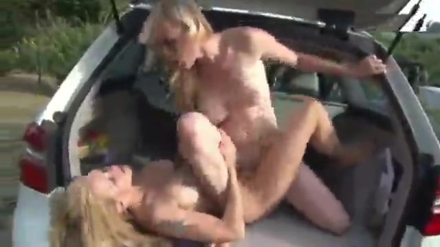 Busty Russian chicks fucking in the car