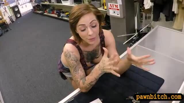 Busty tattooed woman railed by pawn man