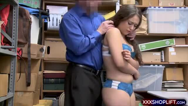 Teen shoplifter got caught and gets two hard cocks