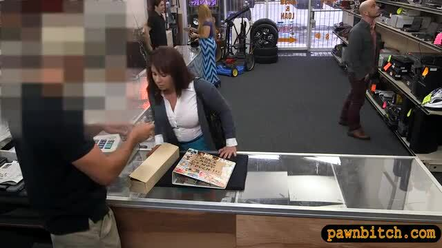 Busty brunette MILF fucked by pawn man