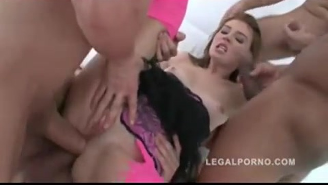 She gets 6 cocks with her legs wide spread