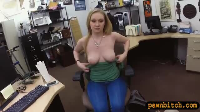 Blonde babe drilled by pervert pawn man
