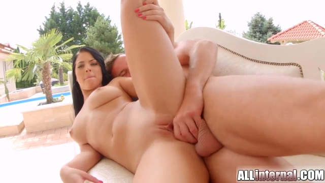 Beautiful brunette drilled by a mature man