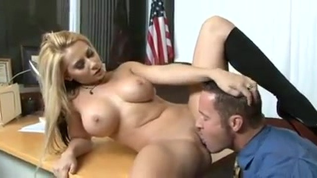 Big titted blonde fucking her boss