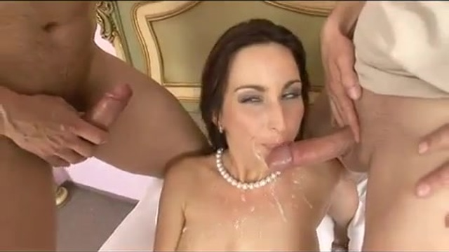 Double penetration with a cock-tease maid