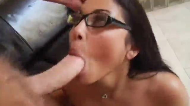 Latina with glasses gets a facial
