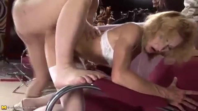 Anal creampie on his mature mom