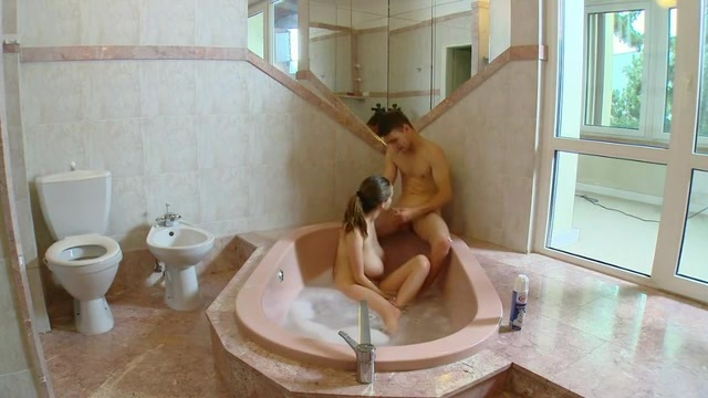 Passionate bath with the woman with big tits