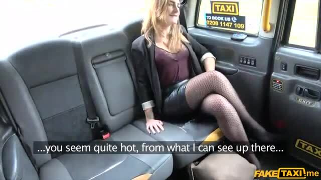 Smart looking elegant woman fucked in the ass in a taxi