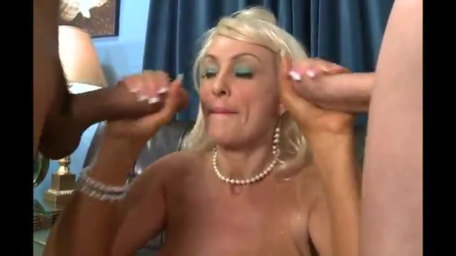 Busty mature in threesome