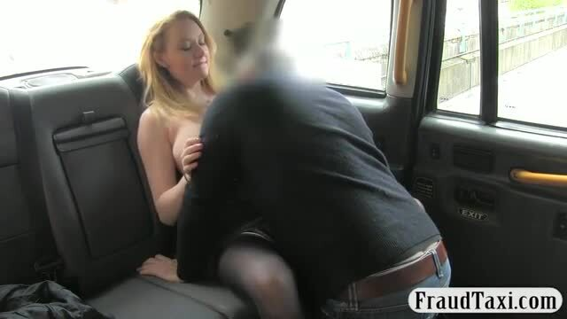 Busty babe in heels screwed in the taxi