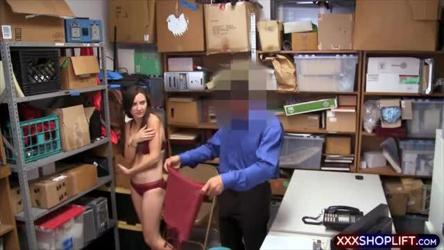 Skinny shoplifter with nice tits gets punish fucked