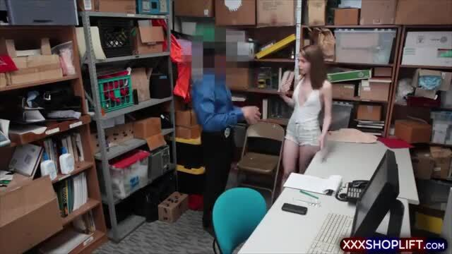 Petite blonde shoplifter gets fucked hard from behind