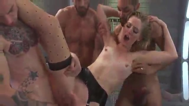 Gangbang with a slutty blonde
