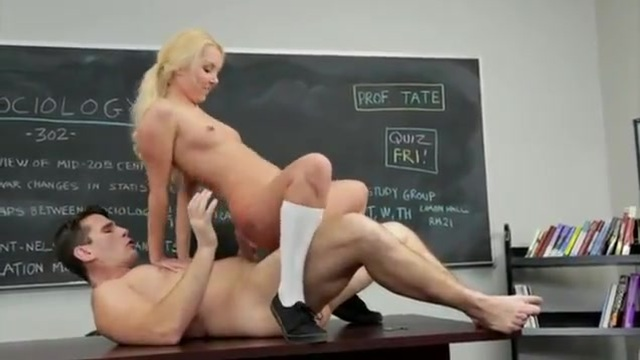 A schoolgirl with chunky glasses seduces her professor