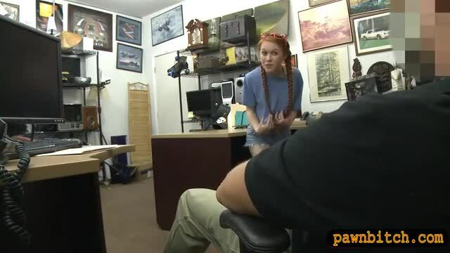 Tight redhead babe nailed by pawn keeper