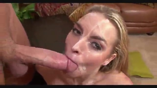 Blonde with her little face covered in cum