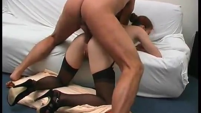 Redhead with hairy pussy has anal sex