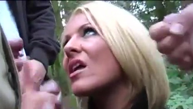 Tia Layne has a picnic in the forest of cocks
