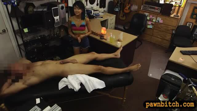 Skinny asian girl railed at the pawnshop
