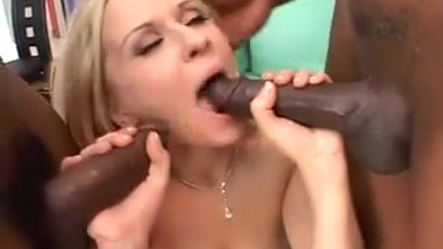 The young girl turns depraved with two black cocks