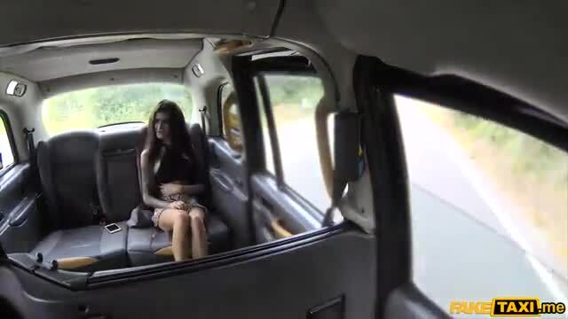 Brunette gets her rough anal treatment in a fake taxi