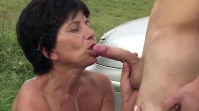 Sex on the countryside and an overflow of cum for the grandma