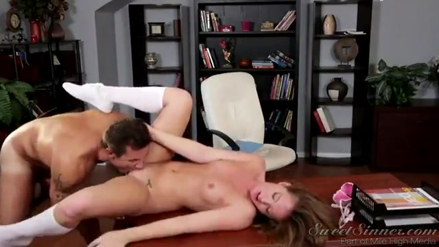 An older man spanks and fucks a young schoolgirl