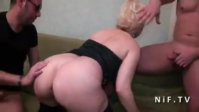 Buxom blonde with two guy friends