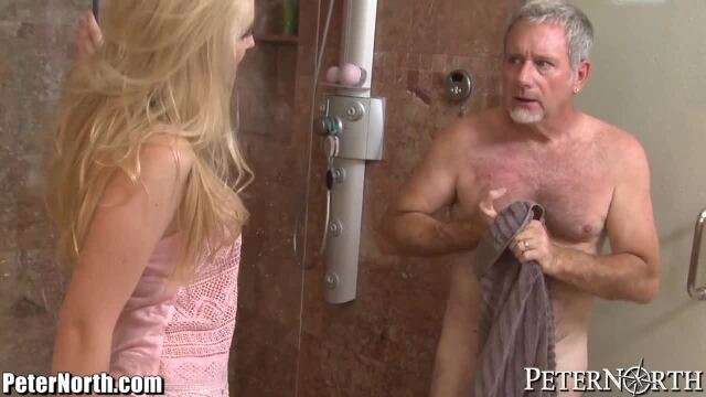 Older man bangs an angel-like blond woman